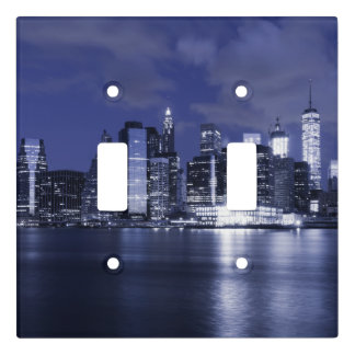 New York Skyline Bathed in Blue Light Switch Cover