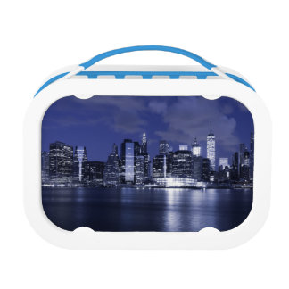 New York Skyline Bathed in Blue Lunch Box
