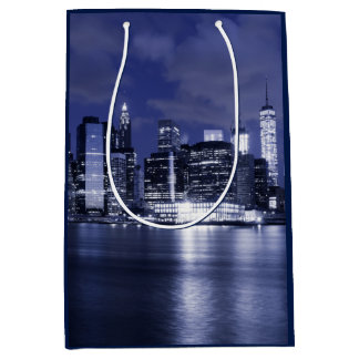 New York Skyline Bathed in Blue Medium Gift Bag