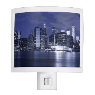 New York Skyline Bathed in Blue Night Lites
