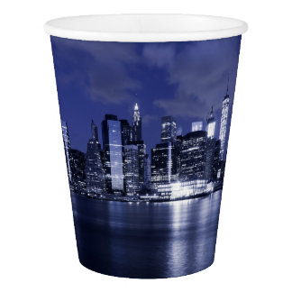 New York Skyline Bathed in Blue Paper Cup