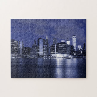 New York Skyline Bathed in Blue Puzzle