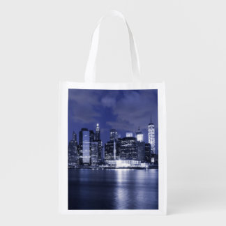 New York Skyline Bathed in Blue Reusable Grocery Bag