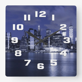 New York Skyline Bathed in Blue Square Wall Clock