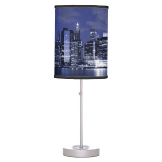 New York Skyline Bathed in Blue Table Lamp