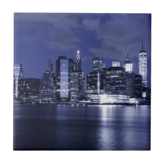 New York Skyline Bathed in Blue Tile