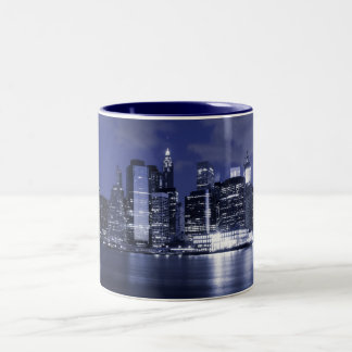 New York Skyline Bathed in Blue Two-Tone Coffee Mug