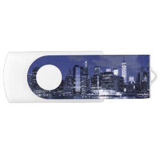 New York Skyline Bathed in Blue USB Flash Drive