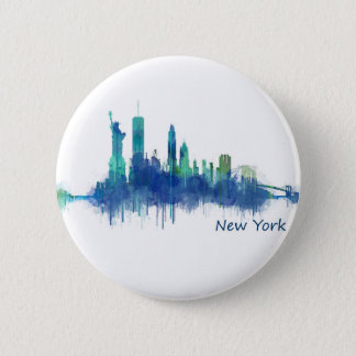 New York Skyline blue Watercolor v05 2 Inch Round Button