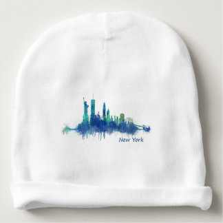 New York Skyline blue Watercolor v05 Baby Beanie