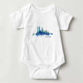 New York Skyline blue Watercolor v05 Baby Bodysuit
