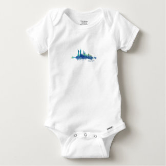 New York Skyline blue Watercolor v05 Baby Onesie