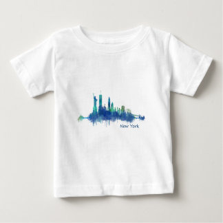 New York Skyline blue Watercolor v05 Baby T-Shirt