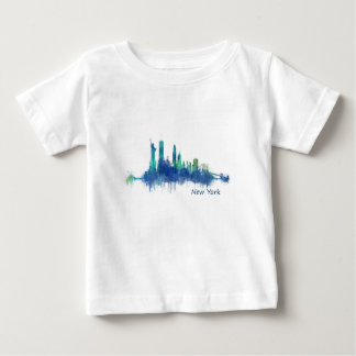 New York Skyline blue Watercolor v05 Baby T-Shirt