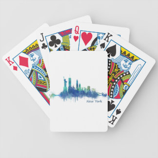 New York Skyline blue Watercolor v05 Bicycle Playing Cards