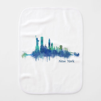 New York Skyline blue Watercolor v05 Burp Cloth