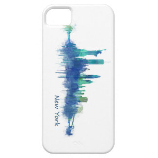 New York Skyline blue Watercolor v05 Case For The iPhone 5