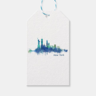 New York Skyline blue Watercolor v05 Gift Tags