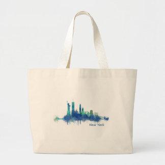 New York Skyline blue Watercolor v05 Large Tote Bag