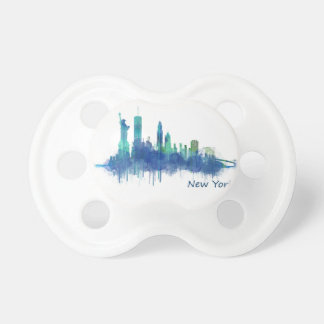 New York Skyline blue Watercolor v05 Pacifier