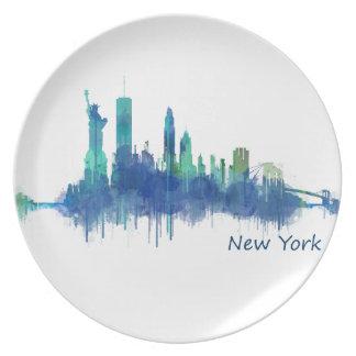 New York Skyline blue Watercolor v05 Plate