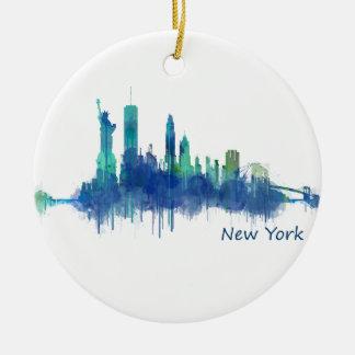 New York Skyline blue Watercolor v05 Round Ceramic Ornament