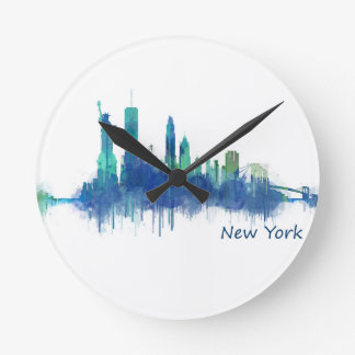 New York Skyline blue Watercolor v05 Round Clock