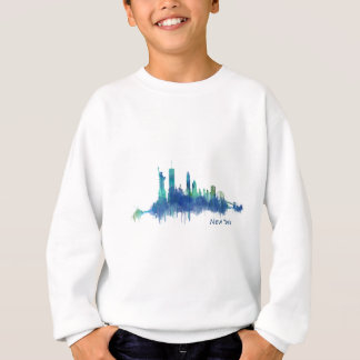 New York Skyline blue Watercolor v05 Sweatshirt