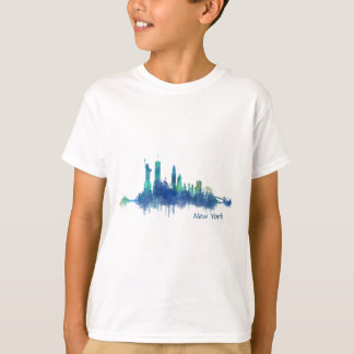 New York Skyline blue Watercolor v05 T-Shirt