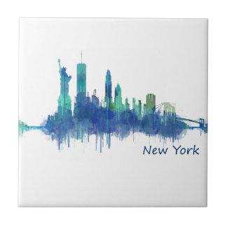 New York Skyline blue Watercolor v05 Tile