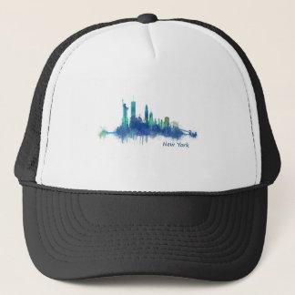New York Skyline blue Watercolor v05 Trucker Hat