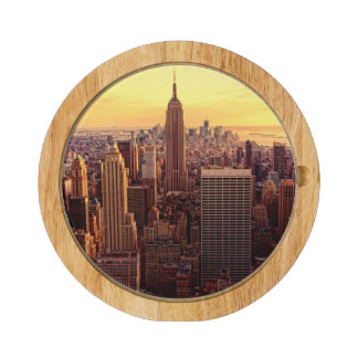 New York skyline city with Empire State Rectangular Cheese Board