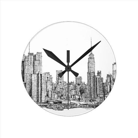 New York skyline clock tick tock