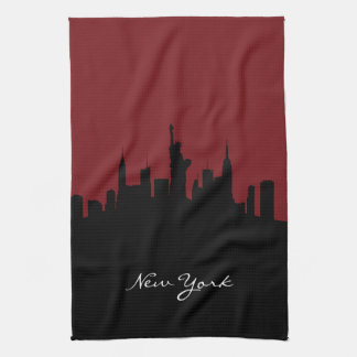New York Skyline | Dark Red Kitchen Towel
