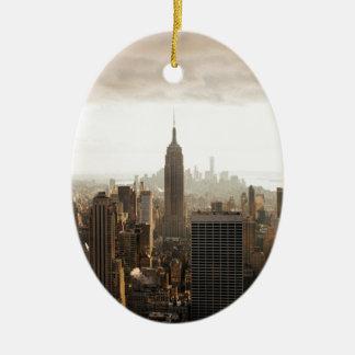 New York Skyline - dusk - grey Ceramic Oval Ornament