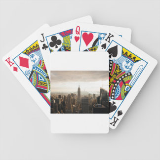 New York Skyline - dusk - grey Poker Deck