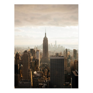 New York Skyline - dusk - grey Postcard