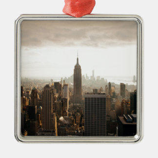 New York Skyline - dusk - grey Silver-Colored Square Ornament