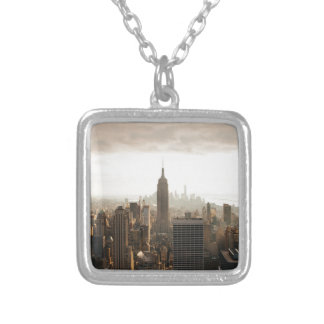 New York Skyline - dusk - grey Silver Plated Necklace