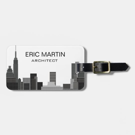 New York Skyline Grey Modern Personalized Name Luggage Tag