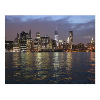 New York skyline Hudson River World Trade Center Postcard