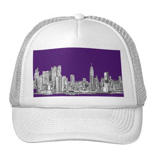 New York skyline in purple Mesh Hats