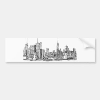 New York skyline ink Bumper Sticker