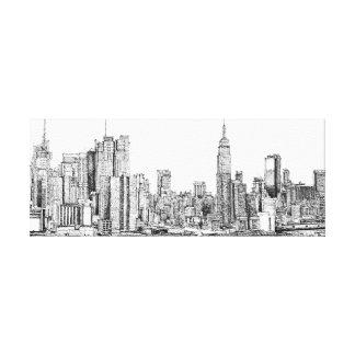 New York skyline ink canvas