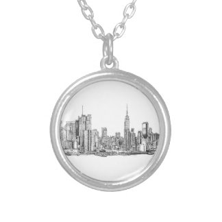 New York skyline ink necklace