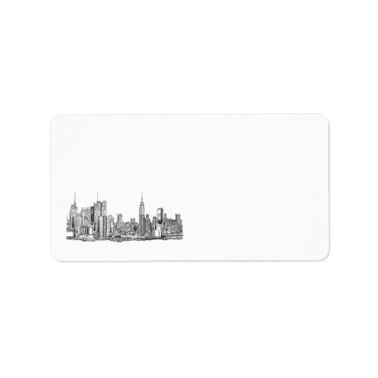 New York skyline personalized label
