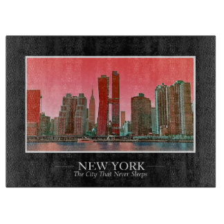 New York Skyline Photograph Frame Personalize Cutting Board