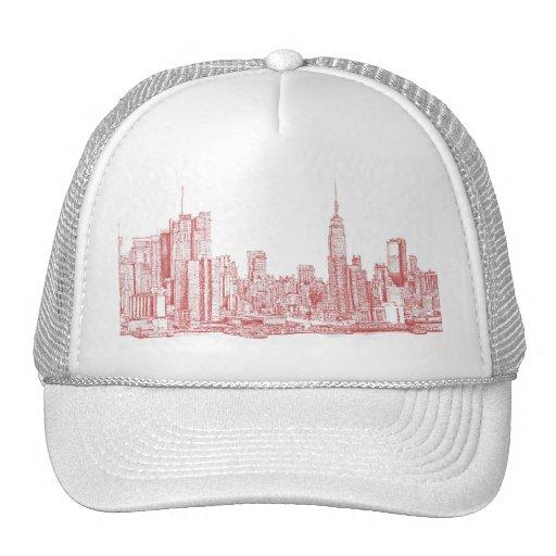 New York skyline pink red Hat