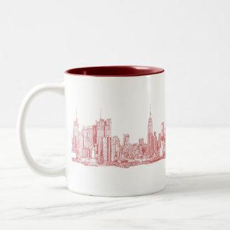 New York skyline pink red Two-Tone Coffee Mug