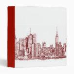 New York skyline red drawing 3 Ring Binder